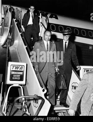 Civil rights activist James L. Farmer, Jr. arrives in New York - Stock Photo