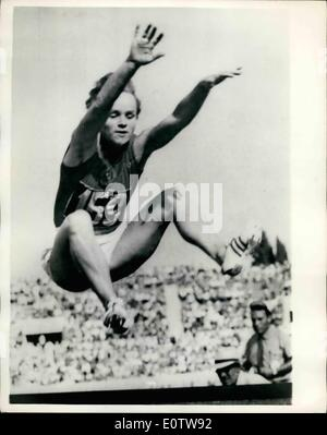 Aug. 08, 1960 - Olympic Games In Rome, Russian Girl Wins Long Jump With New Record; V. Krepkina of Russia set a - Stock Photo