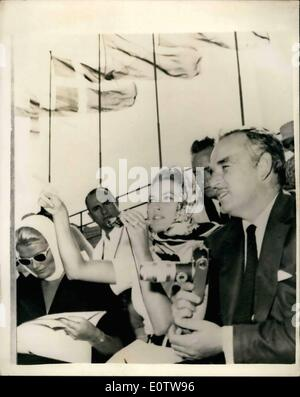 Aug. 08, 1960 - Olympic Games In Rome. Prince Rainier And Princess Grace Watch Rowing: Photo Shows Prince Rainier - Stock Photo