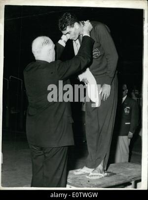 Aug. 08, 1960 - Olympic games in Rome. Gold medal for john devitt. Photo shows John devitt, of Australia, receives - Stock Photo
