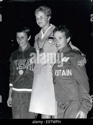 Aug. 08, 1960 - Olympic Games In Rome Diving Winners With Their Medals; Photo Shows Pictured on the rostrum after - Stock Photo