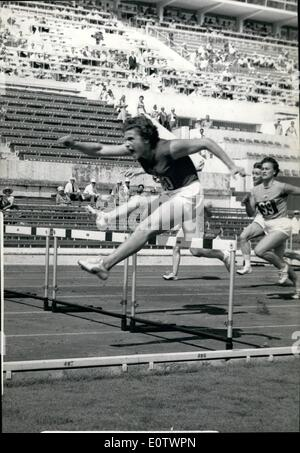 Aug. 08, 1960 - Olympic Games: Athletics first day: Photo shows Irina Press (Russia) sets up a new Olympic record - Stock Photo