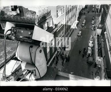 Mar. 03, 1967 - Hidden Police TV Camera Fails To Spot Jewel Thieves In Hatton Garden Raid: TV cameras were installed - Stock Photo