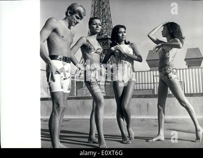 Nov. 11, 1967 - Fashion Show In The Shadow of The Eiffel Tower. Photo Shows:- Four of the striking styles for the - Stock Photo