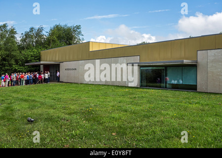 Tourists waiting at the entrance of the National Museum and Research Center of Altamira, Santillana del Mar, Cantabria, - Stock Photo