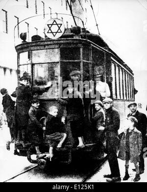 Jan 20, 2005; Warsaw, POLAND; (File Photo. Date Uknown) The star of David attached to the top of this tram-car indicates - Stock Photo