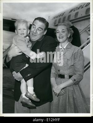 Feb. 24, 2012 - Idlewild Airport, N.Y., May 21 -- Actor Paul Douglas meets his wife and son, Adams, after their - Stock Photo