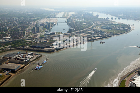 aerial view of London City Airport and the River Thames, London, UK - Stock Photo