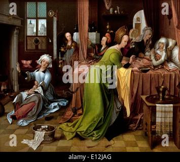 The Birth of the Virgin  1520 Jan de Beer 1475-Antwerp-1528 Flemish Belgian Belgium - Stock Photo