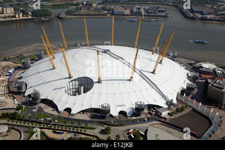 aerial view of the O2 arena (formerly The Millennium Dome) in Greenwich, London, UK - Stock Photo