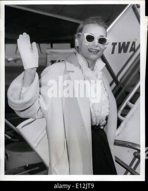 Feb. 24, 2012 - Idlewild Airport, N.Y., March 10 - Buxom Marie Wilson of the movies boards a TWA Plane here today - Stock Photo