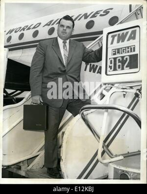 Feb. 24, 2012 - Idlewild Airport, May, 4 -- Dr: Dr. Billy James Hargis,, Famed Oklahoma Evangelist, Left VIA TWA - Stock Photo