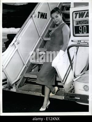 Feb. 24, 2012 - Idlewild Airport, N.Y., August 6 -- Actress France Nuyen appearing in ''South Pacific'', arrived - Stock Photo