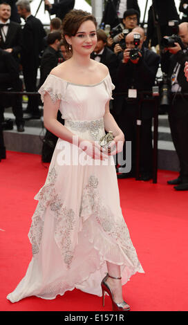 Cannes, France. 22nd May, 2014. Irish actress Aisling Franciosi arrives for the screening arrive for the screening - Stock Photo