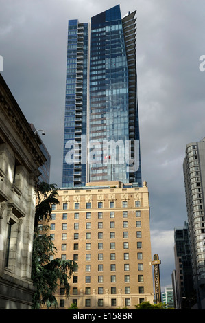 The luxury, Rosewood Hotel Georgia and private residences tower on Burrard Street in downtown Vancouver, BC, Canada - Stock Photo