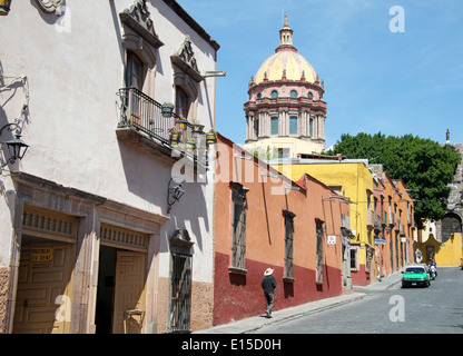 Zacateros with dome of Conception church San Miguel de Allende Mexico - Stock Photo