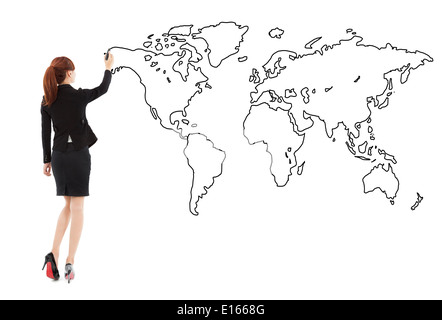 Business woman standing and drawing global map - Stock Photo