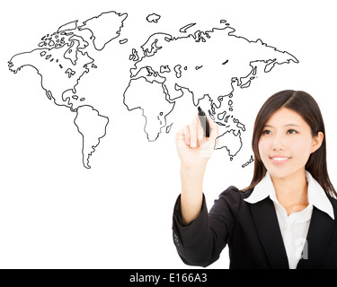 smiling business woman drawing global map concept - Stock Photo