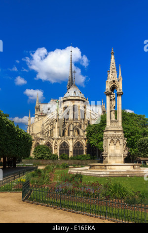 The southern facade of Cathedral of Notre Dame de Paris at summer afternoons - Stock Photo