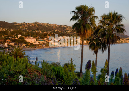 Overview of Laguna Beach, California at sunset - Stock Photo