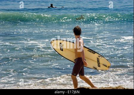 Surfer at Laguna Beach, California - Stock Photo