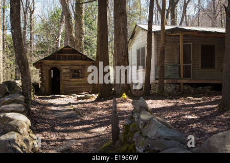 Houses in disrepair are pictured in the Elkmont Historic District of the Great Smoky Mountains National Park in - Stock Photo