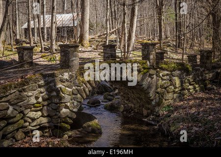 A stone bridge is pictured in the Millionaire's row area of the Great Smoky Mountains National Park in Tennessee - Stock Photo