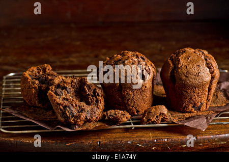 Double chocolate chip muffins cooling on a rack. - Stock Photo