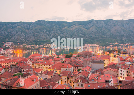 panorama of old town of Kotor, Montenegro, view of the sea from the fortress - Stock Photo