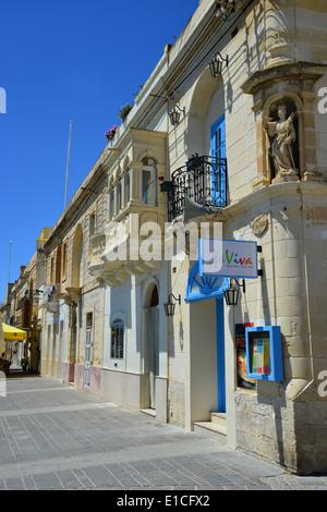 Harbour front street, Marsaxlokk, South Eastern District, Malta Xlokk Region, Republic of Malta - Stock Photo