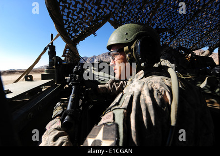 U.S. Army Capt. Patrick Mitchell, with 8th Squadron, 1st Cavalry Regiment, provides security from inside a Stryker - Stock Photo