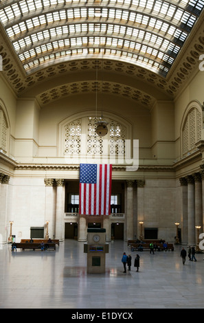 A view of the Great Hall at Union Station in Chicago, Illinois - Stock Photo