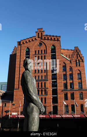 Statue of the pirate Klaus Stoertebeker by the International Maritime Museum in the HafenCity district of Hamburg, - Stock Photo