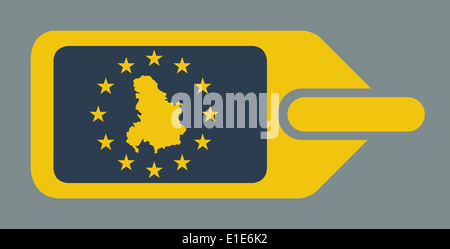 Serbia and Montenegro European travel luggage label or tag in flat web design colors. - Stock Photo