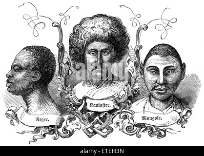 types of Caucasian, Asian and dark-skinned faces, people picture from the 19th Century, 1872, Germany, Europe - Stock Photo