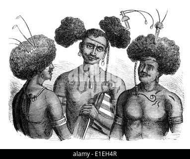 types of vegetarian from South Sea Islands, people picture from the 19th Century, 1872, Germany, Europe - Stock Photo