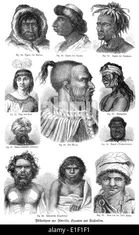 types of American and Australian faces, people picture from the 19th Century, 1872, Germany, Europe - Stock Photo