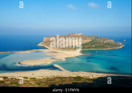 Greece, Crete Island, Chania, Gramvousa, Balos bay and Gramvousa island - Stock Photo