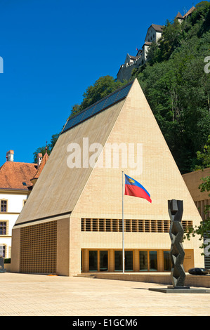The House of Parliament building in Vaduz, Principality of Liechtenstein, Europe - Stock Photo