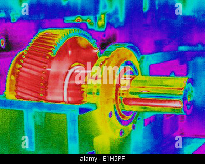 Infra red heat image hot gears in factory - Stock Photo