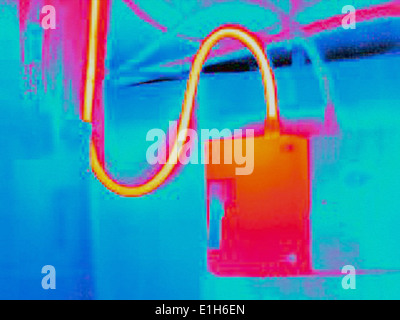 Infra red heat image of electricity supply cable and box - Stock Photo