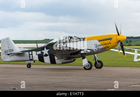 A P51 Mustang Fighter aircraft ' Ferocious Frankie' at the Duxford Airshow - Stock Photo