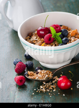 Bowl of muesli with fresh berries - Stock Photo