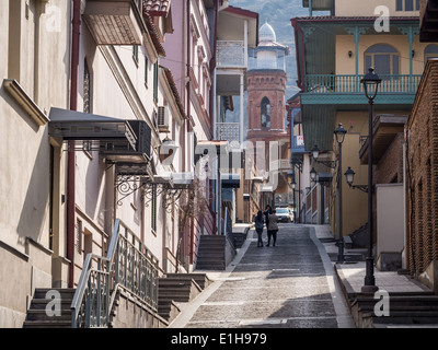One of the streets in the Old Town of Tbilisi, Georgia, on a spring day. - Stock Photo