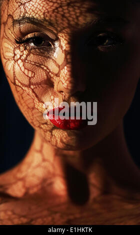 Reflection. Woman in Shadows with Reflection of Openwork Lace on her Face - Stock Photo