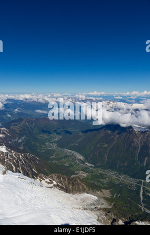 View over the Alps from Aiguille du Midi, Chamonix, France - Stock Photo