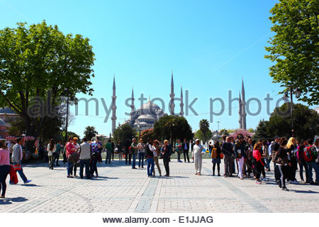 View of Sultan Ahmed Mosque (AKA Blue Mosque) from the Mosque gardens. Istanbul, Turkey - Stock Photo