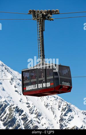 Gondola to the Aiguille du Midi in Chamonix, France - Stock Photo