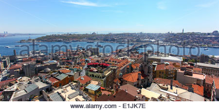 View of the Golden Horn and the Bosphorus strait from Galata Tower, in Istanbul, Turkey - Stock Photo