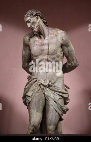 Monastery of Saorge.  Wooden statue of Jesus. - Stock Photo